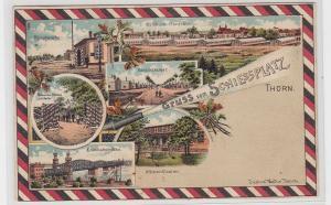 92289 AK Gruss vom Schiessplatz Thorn - Hauptwache, Baracken, Eisenbahnbrücke