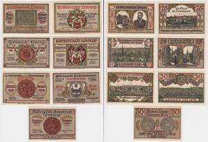 3 x 50, 4 x 75 Pfennig Banknoten Notgeld Stadt Lennep 15.7.1921 OVP (133490)