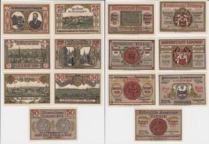 3 x 50, 4 x 75 Pfennig Banknoten Notgeld Stadt Lennep 15.7.1921 OVP (133513)