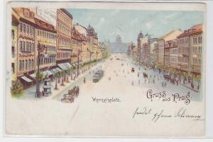 94305 Ak Lithographie Gruß aus Prag Wenzelsplatz 1901