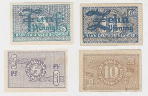 5 & 10 Pfennig Banknote Bank Deutscher Länder Rosenberg Nr.250 & 251 a (129182)