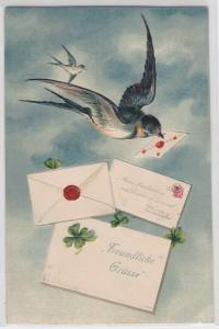 45223 Glückwunsch Präge Ak Schwalbe mit Brief im Schnabel 1915