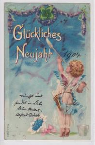 75801 Glückliches Neujahr Ak kleiner Engel malt mit Pinsel 1904