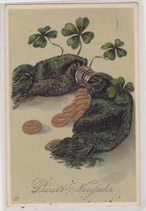 89737 Glückwunsch AK Prosit Neujahr - Geldkatze & vierblättrige Kleeblätter 1907