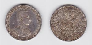 5 Mark Silber Münze Preussen Kaiser Wilhelm II in Uniform 1914 (133340)