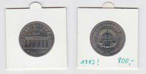 DDR Gedenk Münzen 5 Mark Brandenburger Tor 1983 (133489)