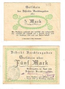 5 Mark Banknote Gutschein Notgeld Distrikt Berchtesgaden 29.April 1919 (115174)