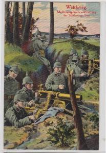94447 Feldpost Ak Maschinengewehr Abteilung im Schützengraben 1916