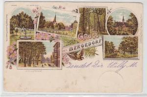 94294 Ak Lithographie Gruß aus Bergedorf Wilhelmplatz, Holzenstraße usw. 1898