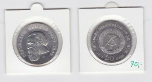 DDR Gedenk Münze 20 Mark Friedrich Engels 1970 Silber Stempelglanz (133548)