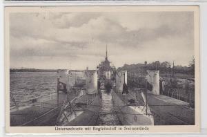 93030 Ak Unterseeboote mit Begleitschiff in Swinemünde 1937