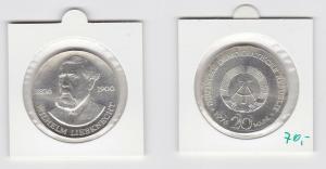 DDR Gedenk Münze 20 Mark Wilhelm Liebknecht 1976 Silber (133361)