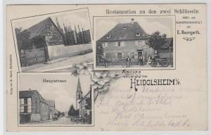 79914 Mehrbild Ak Gruß aus Heidolsheim i.P. Restauration zu den 2 Schlüsseln