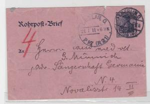 92756 Ganzsachen Rohrpost Brief Berlin Sängerschaft Germania 1911