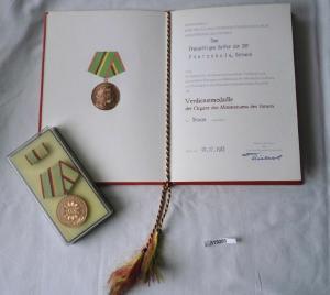 DDR Urkunde und Verdienstmedaille des MdI in Bronze (119280)