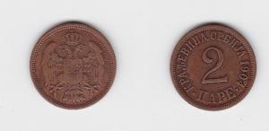 2 Para Kupfer Münze Serbien 1904 (133352)