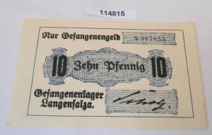 10 Pfennig Banknote Gefangenenlager Langensalza 1.Weltkrieg (114815)