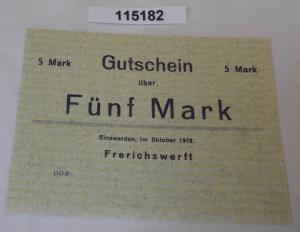 5 Mark Banknote Gutschein Notgeld Einswarden Frerichswerft Oktober 1918 (115182)