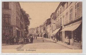 92429 geprüft Ak Dieuze in Lothringen Strassenansicht 1915