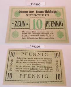 10 Pfennig Banknote Gefangenenlager Weinbergslager Zossen 1.Weltkrieg (115200)