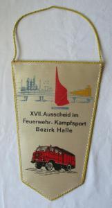 DDR Wimpel XVII. Ausscheid im Feuerwehr-Kampfsport Bezirk Halle Köthen (126331)