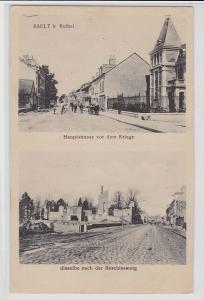 88225 Feldpost Ak Sault bei Rethel Hauptstraße vor und im Kriege 1917
