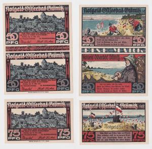 3 Banknoten Notgeld Ostseebad Grömitz 12.5.1921 (126434)
