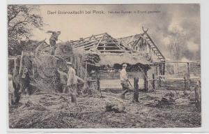 94669 Feldpost Ak Dorf Bobrowitschi bei Pinsk von Russen in Brand geschossen1916