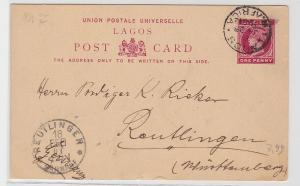93932 seltene Ganzsachen Karte Lagos Westafrika nach Reutlingen 1901