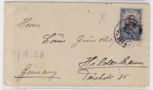 94072 seltener Brief von Liberia Afrika nach Hildesheim 1926