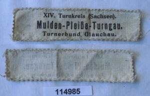 Altes Stoff Abzeichen Mulden Pleiße Turngau Turnerbund Glauchau um 1930 (114985)