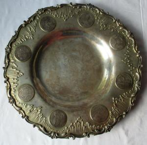 Antiker silberner Münzteller 800er Silber 8 Münzen 16.-18. Jahrhundert (129392)