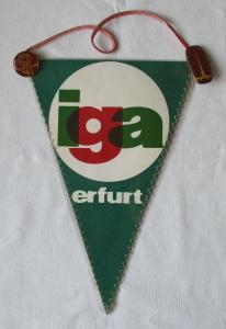 DDR Wimpel iga Erfurt Internationale Gartenbauaustellung + Abzeichen (126071)