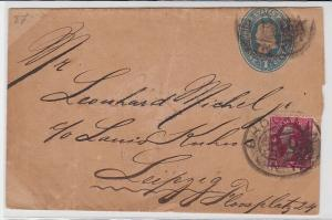 94068 seltener Ganzsachen Brief USA Brocklyn nach Leipzig um 1900