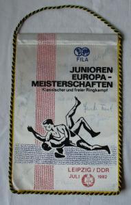 DDR Wimpel Junioren EM Klassischer & Freier Ringkampf Leipzig Juli 1982 (125880)