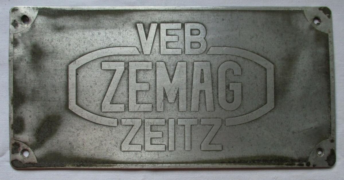 Reklame Blechschild VEB Zemag Zeitz Eisengießerei & Maschinenbau AG (129432) 0