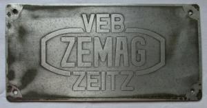Reklame Blechschild VEB Zemag Zeitz Eisengießerei & Maschinenbau AG (129432)