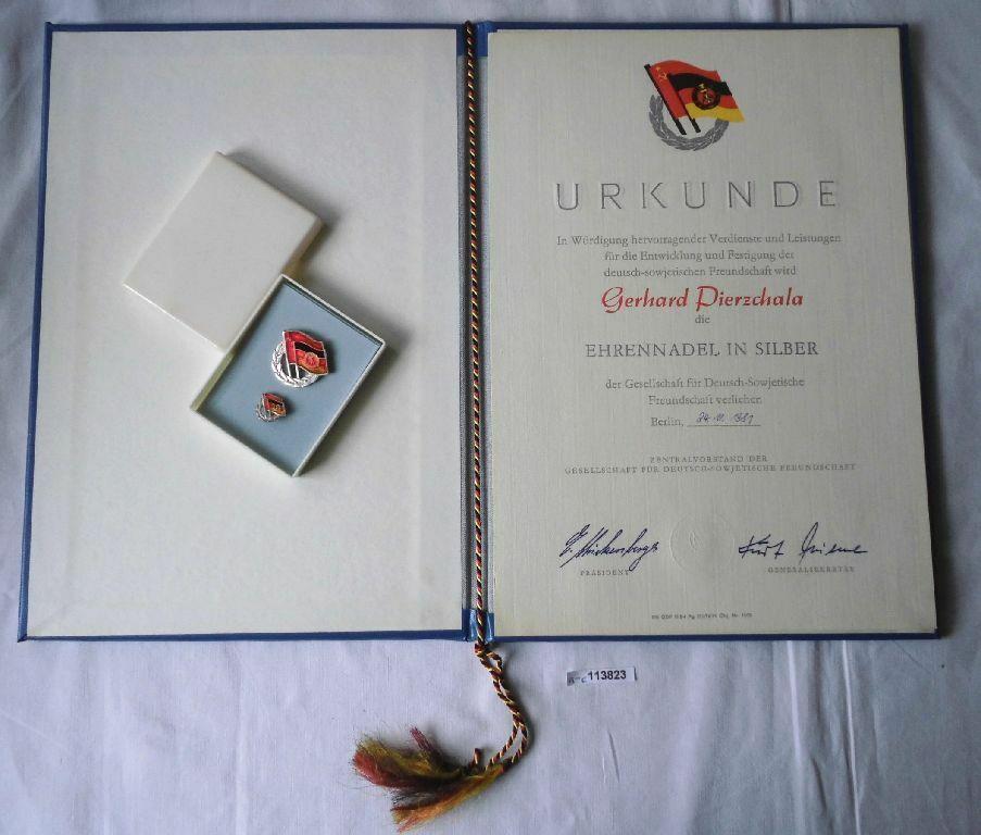 DDR Urkunde & Ehrennadel der DSF in Silber 1981 (118302) 0