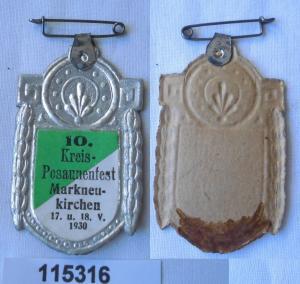 Altes Papp Abzeichen 10.Kreis Posaunenfest zu Markneukirchen 1930 (115316)