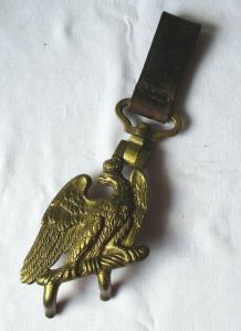 Preußen großer Trommelhaken mit Lederschlaufe vergoldeter Adler 1.WK (125707)
