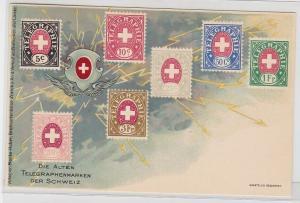 94065 Briefmarken AK alte Telegraphenmarken der Schweiz 5 Centimes - 20 Franken
