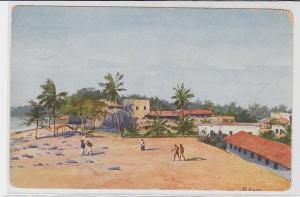 94052 Künstler R.Duschek AK Kilwa Kiwindje Ostafrika Tansania - Dorfansicht 1916