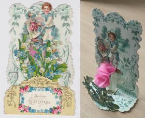 91576 Aufstell AK Herzlichen Glückwunsch - Kind Junge Matrose mit Blüten