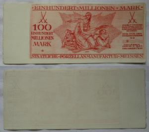 100 Millionen Mark Banknote Meissen Porzellan Manufaktur 15.8.1923 (102231)