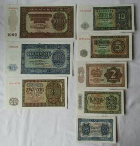 Satz DDR mit 9 Banknoten 50 Pfennig - 1000 Mark 1948 KASSENFRISCH ! (107864)