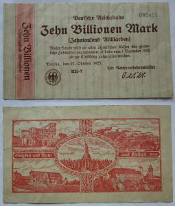 10 Billionen Mark Banknote deutsche Reichsbahn Berlin 27.10.1923 (110661)