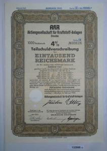 1000 Mark Aktie AKA AG für Kraftstoff Anlagen Dresden Februar 1943 (132068)