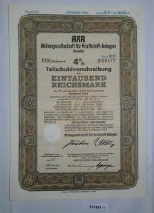 1000 Mark Aktie AKA AG für Kraftstoff Anlagen Dresden Februar 1943 (131881)
