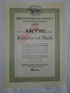 1000 Mark Aktie Bibliographisches Institut AG Leipzig 12.September 1922 (131006)