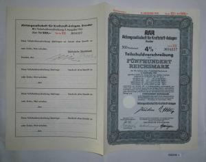 500 Mark Aktie AKA AG für Kraftstoff Anlagen Dresden November 1941 (132219)